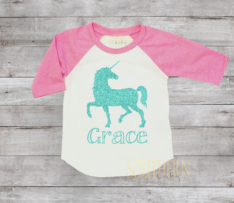 Unicorn Party Outfit Birthday Shirt Personalized Girls Glitter