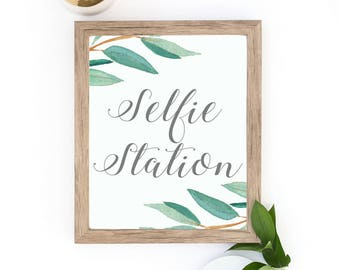 Eucalyptus Bohemian Floral Selfie Station Wedding Sign | Boho Rustic Herbal Photo Booth Wedding Sign | Greenery Leaf  Printables | EUC1174