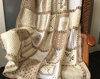 """Handmade Crochet Sampler Squares Afghan in Cream, Beige and White, 104cm x 122cm (approx 41"""" x 48"""") in smooth acrylic yarn."""