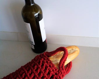 Bag of bread, flask, portalabores, etc, trapillo (crochet).