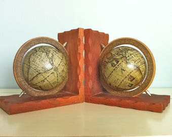 Vintage Globe Bookends/Old World Globes/Antique Globe Bookends/Vintage Spinning Globe Bookends/Old World Globes/Antique Maps/Antique Globes