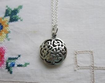 Vintage round celtic silver locket