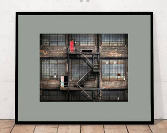 Modern Art Photography, Modern Art Print, Factory Print, Old Factory Print, Deserted Building, Fire Escape Print, Digital Download Wall Art