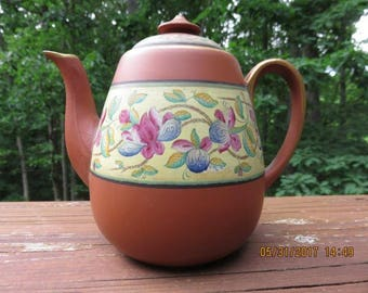 Vintage Yixing Clay Teapot with Flower Decoration