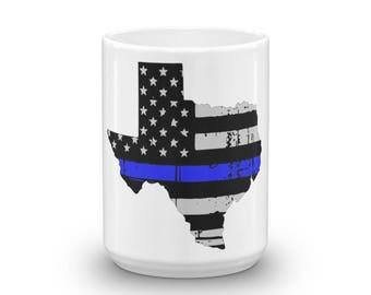 Texas Thin Blue Line Coffee Cup Mug