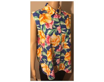 Vintage Original Diane von Furstenberg Floral Button Down Tank Top