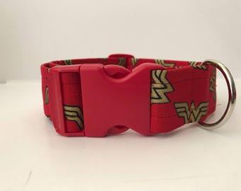 Wonder Woman buckle dog collar