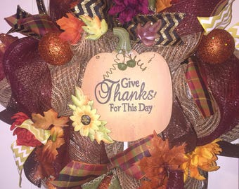 Give thanks wreath, fall wreath, fall decor