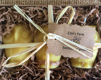 Beeswax Candle Gift Set, Owl Candle Gift Set, Pure Beeswax Candles, Owl Candles, Beeswax Candles, Votive Candles, Animal Candles, Natural