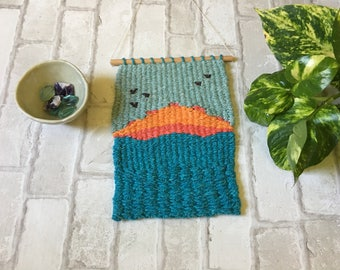 Sunset, Woven Wall Art, Weaving, Tiny House Tapestry, Wall Hanging
