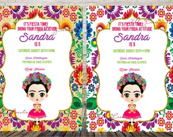 Frida Kahlo Invitation, Invitaciones Frida, Frida Kahlo Birthday