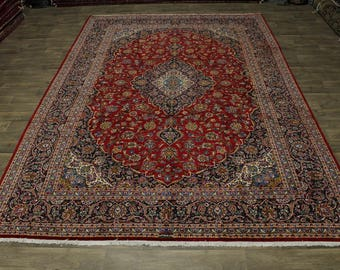 Traditional Palace Size Signed Kashan Persian Rug Oriental Area Carpet 10X14'5