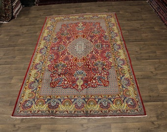 Enchanting Bird Design Qom Shahreza Ghom Persian Area Rug Oriental Carpet 7X11
