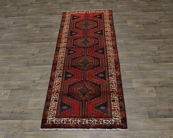 3X9 Tribal Handmade Mussel Hamedan Persian Runner Oriental Area Carpet 3ʹ5X9ʹ5