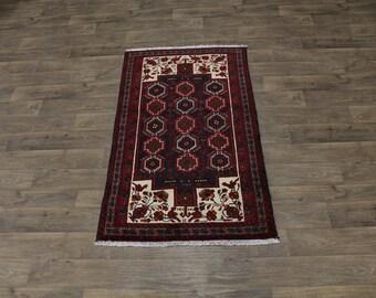3X6 Lovely Handmade Foyer Rare Balouch Persian Rug Oriental Area Carpet 3ʹ4X5ʹ9