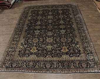 Exceptional Hand Knotted Rare Navy Kerman Persian Rug Oriental Area Carpet 10X14