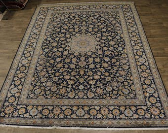 Elegant Semi Antique Handmade Navy Kashan Persian Rug Oriental Area Carpet 10X13