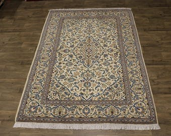 Great Shape Hand Knotted Cream Kashan Persian Wool Rug Oriental Area Carpet 6X10