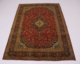 Nice S Antique Gold-washed Rare Kashan Persian Rug Oriental Area Carpet 10X14