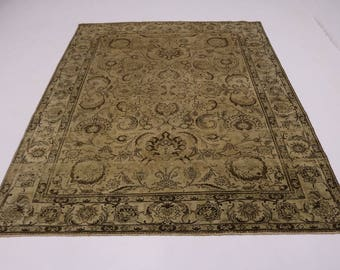 Awesome Antique Washed Muted Floral Tabriz Persian Rug Oriental Area Carpet 9X12