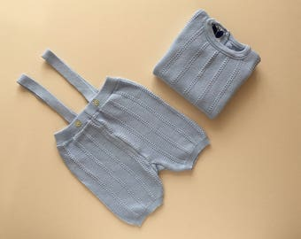 Blue knitted set -12m