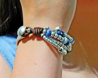 Wrap Boho bracelet,wrap bracelet,leather wrap bracelet,beaded wrap bracelet,leather braceletbeaded bracelet,Sodalite gemstone beads,PP018