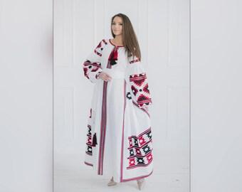 Maxi dress Boho dress  Ukrainian embroidered dress Ukrainian embroidery Vyshyvanka  Festival clothing Folk Dress White and red dress