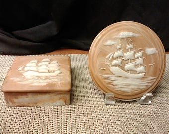 Sailing ship box and plaque by Design Gifts inter., Inc. made in USA in 1974