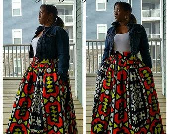 African Print Maxi Skirt, African Skirt, Maxi Skirt, Ankara Skirt
