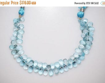 "50% OFF Sky Blue Topaz Faceted Tear Drop Beads-Sky Blue Topaz Tear Drop Briolette, 6x9 - 6x10 mm, 7"" , BL772"