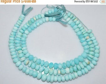 """50% OFF Natural Peruvian Blue Opal Smooth Rondelle Beads , Peruvian Blue Opal Smooth Rondelle  , 10.50-13.50 mm , 14"""" - BL086N"""