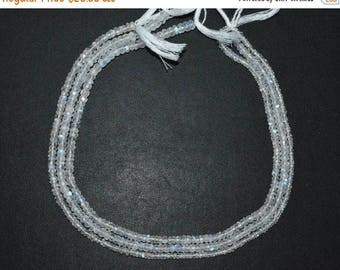 "50% OFF White Rainbow Moonstone Faceted Rondelle Beads , 13"" Strand - White Rainbow Moonstone Rondelle , 3 - 5.50 mm , MC1154"