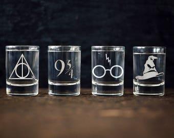 Harry Potter inspired shot glasses Set of 4 Deathly Hallow Platform 9 & 3/4 Snitch