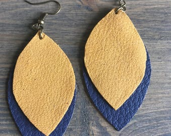 Yellow and Navy Layered Leather Earrings - Navy and Mustard Leather Dangle Earrings - Blue and Gold Leather Earrings