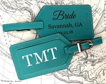 Personalized luggage tags, Bridesmaid gift, luggage tag, luggage tags personalized, custom luggage tags, passports Turquoise*