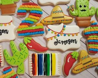 Fiesta, Cactus, Pinata, Sombrero,  Cookies - One Dozen