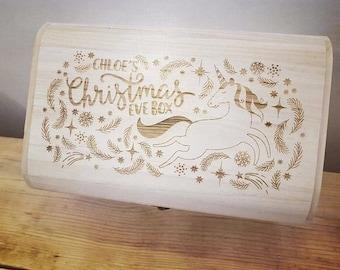 Personalised Luxury Wooden Christmas Eve Box - Dancing Unicorn Design.