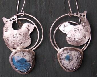 OOAK K2 jasper earrings sterling metalsmith bird earrings metalsmithing earring sterling bird earrings sterling bird metalwork sterling boho