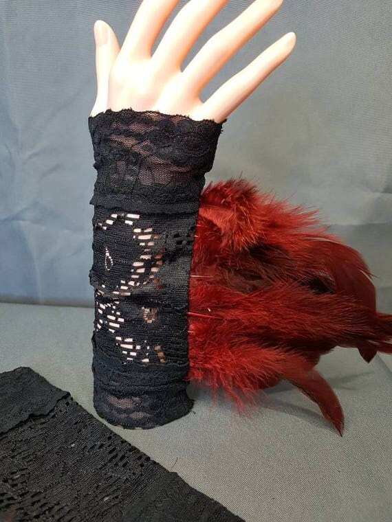 Arm warmers gothic lace cuffs lace with feathers feathers