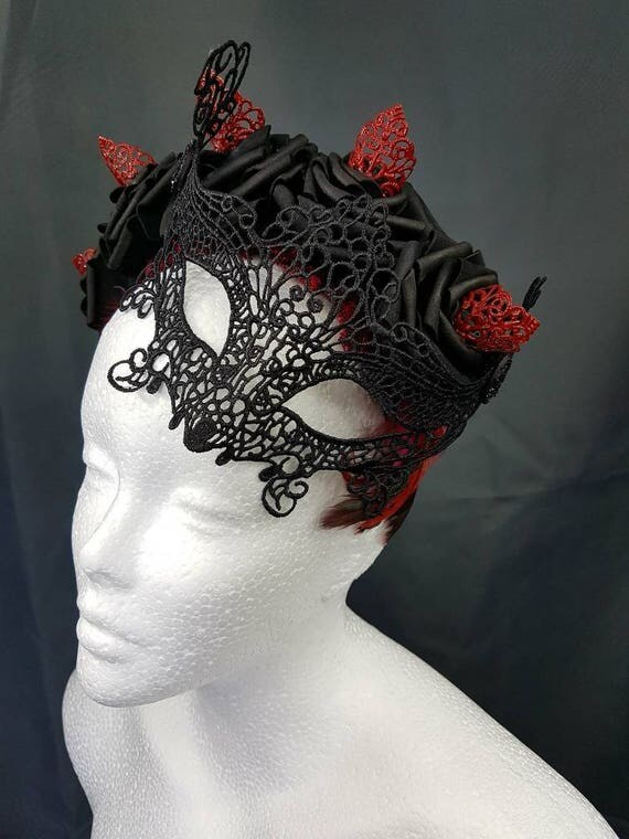 SALE Venice lace Mask roses and filigree headpiece and lace mask roses red headpiece carnevale