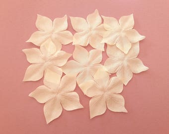 Flower ivory silk pongee dark for jewelry, scrapbooking, card making, sewing individually
