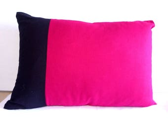 Pillow cover, raspberry and black 40x60cm