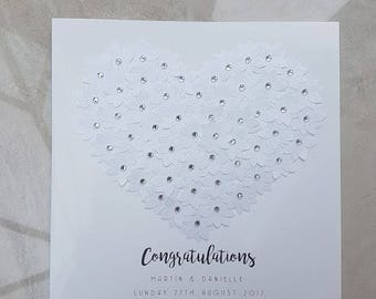 Wedding Card - Handmade Wedding Congratulations Card - Personalised Card Design - 3D Flower Embellishment - Wedding Heart Design