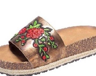 Flower Embroidery Espadrille Slides