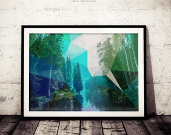 Green Polygonal Nature Art Decor,  Geometric Triangle Pattern Print, Nature Forest Lake, Forest Poster, Wilderness Modern Print, Modern Art