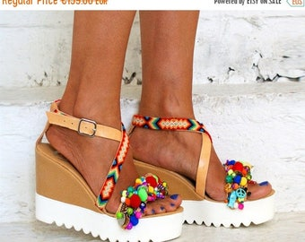 """20% OFF Cork wedged Heel/leather sandals/ Friendship sandals/ Pom pom sandals/Boho sandals/Handmade sandals/Colourful sandals/""""MARSHMALLOW"""""""