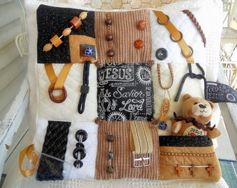Jesus Names Puffy Fidget Quilt, 16X16, Gift for Dad, Sensory Activity Pad, Dementia, Alzheimer, Nursing Home, Blind, Stroke