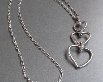 Vintage sterling silver heart pendant . Unique 925 silver heart necklace . Collier argent femme original . Coeur pendentif en 925 argent