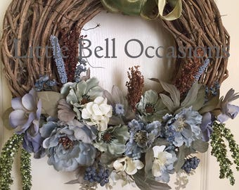Wreath/Willow Branch/Dusty Blue/Soft Greens/White/Flowers/Greenery/Elegant/Country/Earthy/Housewarming Gift/Gift/Beautiful/Front Door/Lovely