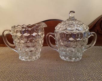 """Vintage Fostoria Glass  Cream and Sugar Set - 5"""" and 4"""" Tall - Cube Design Cream and Sugar - Vintage Glass Creamer and Covered Sugar Bowl"""